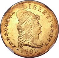 5871: 1795 $10 Draped Bust Eagle 13 Leaves MS65 NGC. BD-5, R.5. Realized: $675,625.
