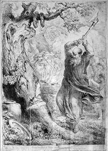 Boniface felling the oak of Thor. Copperplate drawing by Bernhard Rode, 1781.