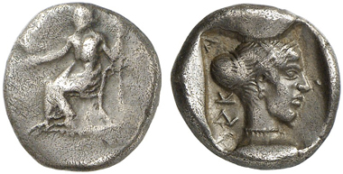 77: Kleitor (Arkadien). Hemidrachme, ca. 460-450. Weber 4286 = Williams III, 4, 168d (dieses Exemplar). BCD Peloponnesos 1411 (dieses Exemplar). Aus Slg. Imhoof-Blumer, Sir Hermann Weber und BCD. Sehr selten. Fein getönt. Sehr schön. Taxe: 650 Euro.