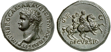 317: Nero, 54-68. Sesterce, Lugdunum, 66. RIC 508. Shiny ink black patina. Extremely fine. Estimate: 20,000 euros.