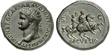 317: Nero, 54-68. Sesterz, Lugdunum, 66. RIC 508. Glänzende tiefschwarze Patina. Vorzüglich. Taxe: 20.000 Euro