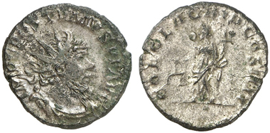 459: Postumus, 260-269. Antoninian, Köln, spät im Jahr 268. C. 14corr. (150 Fr.!). AGK 3. Elmer 584. Cunetio -. Äußerst selten. Sehr schön. Taxe: 2.500 Euro.