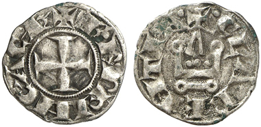 647: Principality of Achaea. Charles I of Anjou, 1275-1285. Corinth(?). Billon denier tournois. Metcalf 948. Very fine. Estimate: 100 euros.