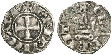 647: Fürstentum Achaia. Karl I. von Anjou, 1275-1285. Korinth(?). Billon denier tournois. Metcalf 948. Sehr schön. Taxe: 100 Euro