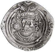 104: ARAB-SASANIAN: 'Abd al-Malik b. Abi Shay(kh), fl. 692, AR drachm (3.02g), APRShT (Abarshahr), AH72, A-M29, clipped down to about the post-reform Umayyad standard, very clear name, mint & date, Fine to VF, RRRR. Estimate: $1,500-2,000.