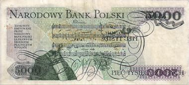 68: 5000 Zloty 1983, Chopin, Serie AL, mit Druckfehler, II+. Startpreis: 2.500 Zloty.