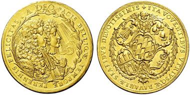 3734: BAYERN, KURFÜRSTENTUM. Maximilian II. Emanuel. 5 Dukaten o.J. (1685; unsigniert), München. Witt. 1472. vz. Schätzpreis: 8.500 Euro.