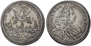 4006: NÜRNBERG, FREIE REICHSSTADT. Reichstaler 1711. Ke. 268. Walzenprägung mit schöner Patina. vz-St, Rs.fast St. Schätzpreis: 1.500 Euro.