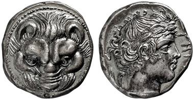 2060: GRIECHISCHE MÜNZEN, RHEGION. Tetradrachme,  415-387. SNG COP. 1933. Sehr hohes Relief. Schöne vz/St. Schätzpreis: 10.000 Euro.