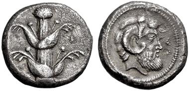 2489: GRIECHISCHE MÜNZEN, BARCE. Tetradrachme, 480-435. Silphiumpflanze. SNG Lockett 3436. fast vz. Schätzpreis: 17.500 Euro.