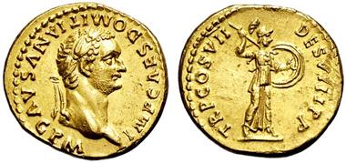 2710: RÖMISCHES KAISERREICH. Domitian. Aureus, 81-96. Minervabüste mit Speer und Schild in Angriffsstellung r. RIC 57. vz. Schätzpreis: 9.500 Euro.