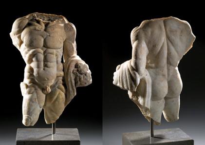 588: Herculesstatuette. Marmor. Römisch, Südosteuropa, 2./3. Jh. H. 37 cm. Schätzpreis: 19.000 Euro.