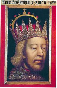Das etwa um 1365 entstandene Bildnis Herzog Rudolfs IV. ist das älteste Porträt der deutschen Malerei. Wien, Dom-und Diözesanmuseum.
