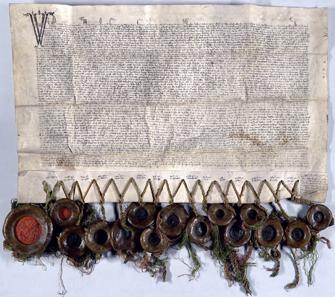 Übergabeurkunde vom  26. Januar 2013 in der Margerete Maultasch Herzog Rudolf IV Tirol übergibt. AUR 1363 I 26 Haus- Hof und Staatsarchiv Wien.