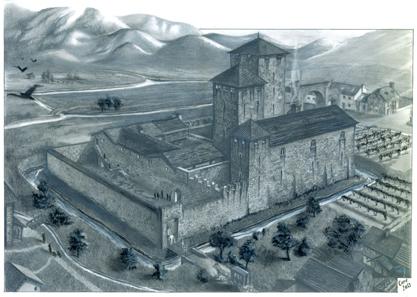 Rekonstruktion der Burg Wendelstein durch den Arch. Caregnato.