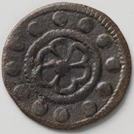 Rechenpfennig, der bei Grabungen im Bozner Laubenhaus Nr. 60 gefunden wurde und dem Florentiner Ghero Baroncelli zuzuweisen ist, der im zweiten Halbjahr des Jahres 1325 die Florentiner Münzstätte gepachtet hatte.