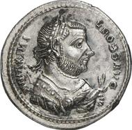 Nr. 449: Old Sable Collection. Maximianus Herculius, 285-310. Argenteus, 305-306, Serdica. RIC -. Aus Auktion Gorny & Mosch 180 (2009), 431 und NAC 46 (2008), 691. Unikum(?). Vorzüglich. Schätzung: 5.000 Euro.