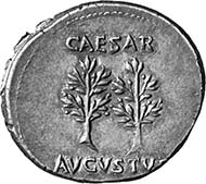 Augustus, 27 B. C. - A. D. 14. Denarius, Caesaraugusta, 19-18. Head with oak wreath l. Rev. laurel tree. From auction sale MMAG 93 (2003), 83.