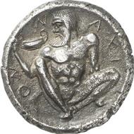 Nr. 695: Griechen. Naxos (Sizilien). Tetradrachme, ca. 460 v. Chr. Cahn, Naxos 54. Aus Hunt Collection, Sotheby's 19.6.1991, Nr. 79 und Gorny & Mosch 112 (2001), 3028. Gutes sehr schön. Schätzung: 45.000 Euro.