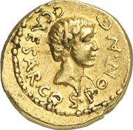 Nr. 992: Römische Republik. Octavian. Aureus, Münzstätte in Gallia Cisalpina, 43 v. Chr. Cr. 490/2. Erworben bei Harlan Berk 1985. Sehr selten. Sehr schön bis vorzüglich. Schätzung: 75.000 Euro.