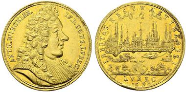 2245: Deutschland. Lübeck. 5 Dukaten, 1694. Behrens 689b. vzgl. Rufpreis: 8.000 Euro.