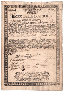 Kreditbrief der Banco delle due Sicilie von 1830. © Wertpapierwelt - Stiftung Sammlung hist. Wertpapiere, Olten.