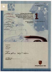 Moderne Vorzugsaktie der Porsche AG. © Wertpapierwelt - Stiftung Sammlung hist. Wertpapiere, Olten.