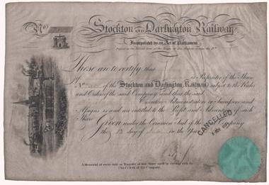 Gründeraktie der ersten Eisenbahngesellschaft der Welt: Stockton and Darlington Railway. © Wertpapierwelt - Stiftung Sammlung hist. Wertpapiere, Olten.
