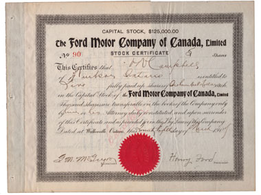 Share of the Ford Motor Company with the signature of Henry Ford. © Wertpapierwelt - Stiftung Sammlung hist. Wertpapiere, Olten.