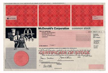 Apple Computer und McDonald's: Symbole der Globalisierung. © Wertpapierwelt - Stiftung Sammlung hist. Wertpapiere, Olten.