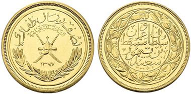 2725: Oman. Said bin-Taimur (1932-1970) (1351-1390 AH). 1/2 Dhofari Rial Geschenkprägung, AH 1367 (1948). KM 29a. stplfr. Rufpreis: 35.000 Euro.