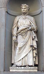 Statue of Giovanni Boccaccio outside the Uffizi, Florence. Source: Wikipedia.