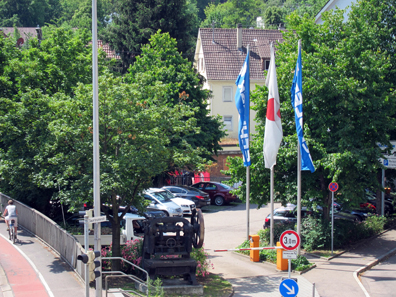 Visitors are greeted by a Schuler press at the parking area. Photograph: UK.