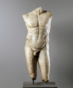 Torso of a naked athlete, the so-called diadumenos ('diadem-bearer'); marble; Roman copy of a bronze statue of Greek sculptor Polykleitos from c.420 BCE. © Antikenmuseum Basel.