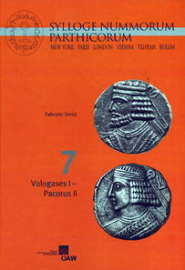 Fabrizio Sinisi, Sylloge Nummorum Parthicorum 7: Vologases I-Pacorus II. Verlag der Österreichischen Akademie der Wissenschaften, Vienna, 2012. 431 p. with bw images, 94 pl. 21.6 x 30.3cm. Hardcover. ISBN: 978-3-7001-7206-2. 129 euros.