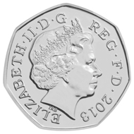 Christopher Ironside's 'lost' Royal Arms design for the decimal fifty pence piece. The Royal Mint has revived it to commemorate the 100th anniversary of Christopher Ironside's birth. This is the new edition.