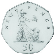 Ironside's sketched design submissions for the new decimal 50p.