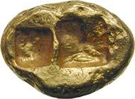 Das erste bimetallische Münzsystem der Geschichte: Königreich Lydien, Krösus (ca. 560-546 v. Chr.), leichter Stater. (Sammlung MoneyMuseum)