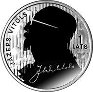 Latvia / 1 lats / silver .925 / 22.0 g / 35.0 mm / Design: Arvids Priedite (graphic design) and Janis Strupulis (plaster model) / Mintage: 3,000.