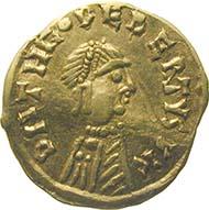 Die erste Goldmünze des westlichen Mittelalters: Fränkisches Reich, Merowinger, Theudebert I. (533-548 n. Chr.), Tremissis. (Sammlung MoneyMuseum)