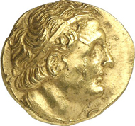 678: Greek coins. Ptolemaios I, 323-305-283, King of Egypt. Stater, after 300, Euhesperides. Naville 239. From auction sale Auctiones AG 20 (1990), 519. Very rare. Extremely fine. Estimate: 25,000 Euros.