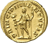 1170: Roman coins. Hostilianus, 251. Aureus. RIC -. Calico 3316. Extremely rare, especially in this condition. Extremely fine to FDC. Estimate: 50,000 Euros.