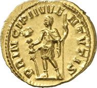 1170: Römer. Hostilianus, 251. Aureus. RIC -. Calico 3316. Äußerst selten, besonders in dieser Erhaltung. Vorzüglich bis Stempelglanz. Taxe: 50.000 Euro.