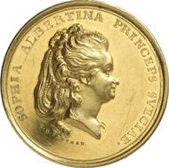 2458: Altdeutschland. Quedlinburg. Äbtissin Sophia Albertina von Schweden, 1787-1803. Goldmedaille zu 12 Dukaten 1787, von C. G. Fehrman, auf die Inthronisation der Äbtissin. Mehl 543 (dieses Exemplar). Aus Auktion UBS 57 (2003), 1432. Äußerst selten. Vorzüglich. Taxe: 5.000 Euro.