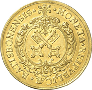 4720: Altdeutschland. Regensburg. 10 Dukaten o. J. (1705) mit Titel Josefs I. Beckenbauer 203, X. Aus Auktion Hauck und Aufhäuser 16 (2001), 1672. Wohl das 2. Exemplar in Privatbesitz. Vorzüglich. Taxe: 40.000 Euro.
