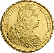 5673: Holy Roman Empire. Charles VI, 1711-1740. 10 ducats 1724, Vienna. Unique specimen. Extremely fine. Estimate: 150,000 Euros.
