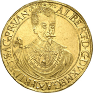 6143: Holy Roman Empire. Duchy of Friedland. Albrecht of Wallenstein, 1623-1634. 10 ducats 1631, Jitschin. Fb. 142. Very rare. Extremely fine to brilliant uncirculated. Estimate: 150,000 Euros.