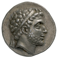 Philip V, King of Macedonia (221-179 BC). Didrachm, 188/87-179 BC. Head of the king diademed, facing right. Rev. club in oak wreath. © MoneyMuseum, Zurich.