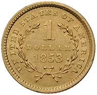 Die kleinste Münze der USA: Vereinigte Staaten von Amerika, 1 Dollar 1853, Philadelphia (Sammlung MoneyMuseum)