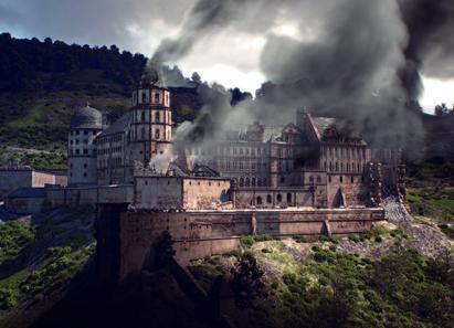 Rekonstruktion Heidelberger Schloss - Sprengung. Von 1688 bis 1697 riss der Pfälzische Erbfolgekrieg die Kurpfalz in eine Katastrophe: Städte und Landstriche wurden verwüstet, das Heidelberger Schloss gesprengt. © CES / FaberCourtial.